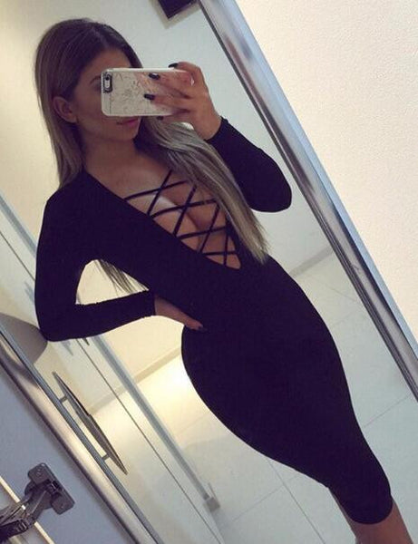 Romoti Front Lace Up Bodycon Dress