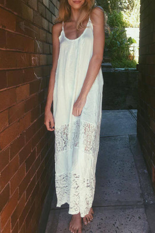 Romoti Beach White Spaghetti Strap Backless Lace Boho Maxi Dress