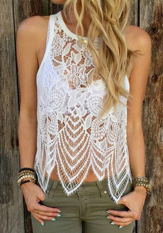 White Crochet Lace Sleeveless Cami Top