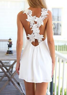 Lace Floral Criss Cross Back Mini Dress