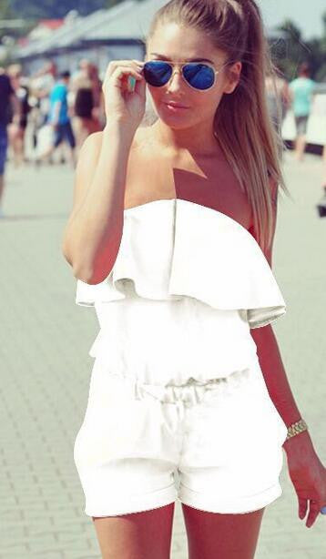White Ruffled Off-The Shoulder Romper