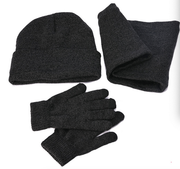 Woollen Knit Hats +Gloves +Scarf Three Pieces