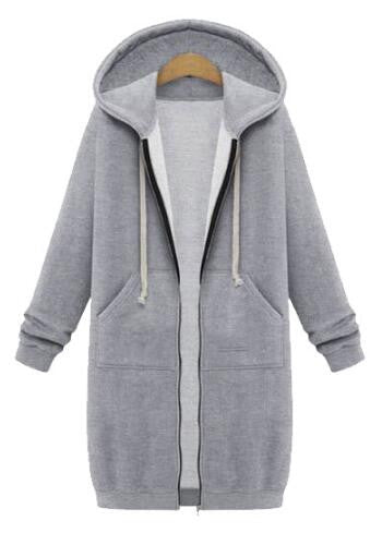 Zipper Hooded Coat