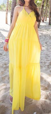 Halter Solid Color Beach Maxi Dress
