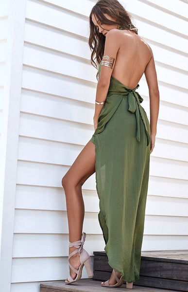 Backless Irregular Slit Dress