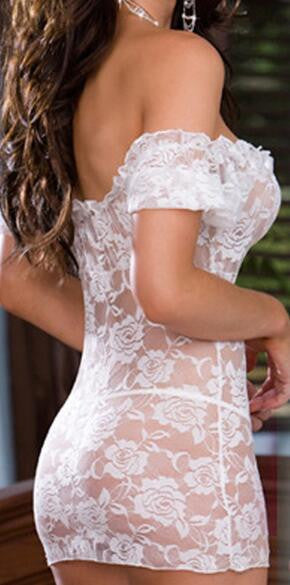 White Lace Off -the- Shoulder Chemise