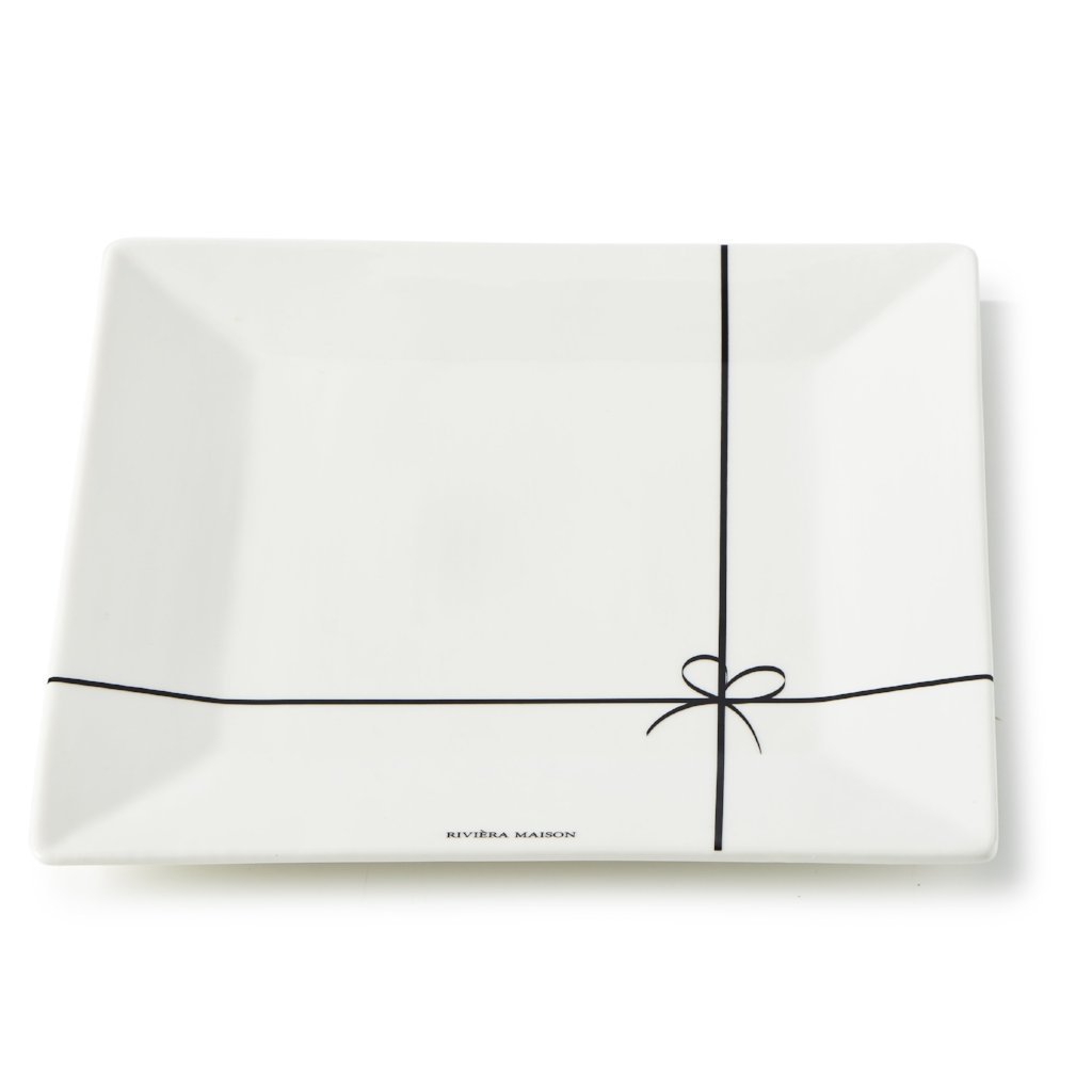 Riviera Maison Happy Bow Plate 23x23 - LAZY SUNDAY LAZY SUNDAY