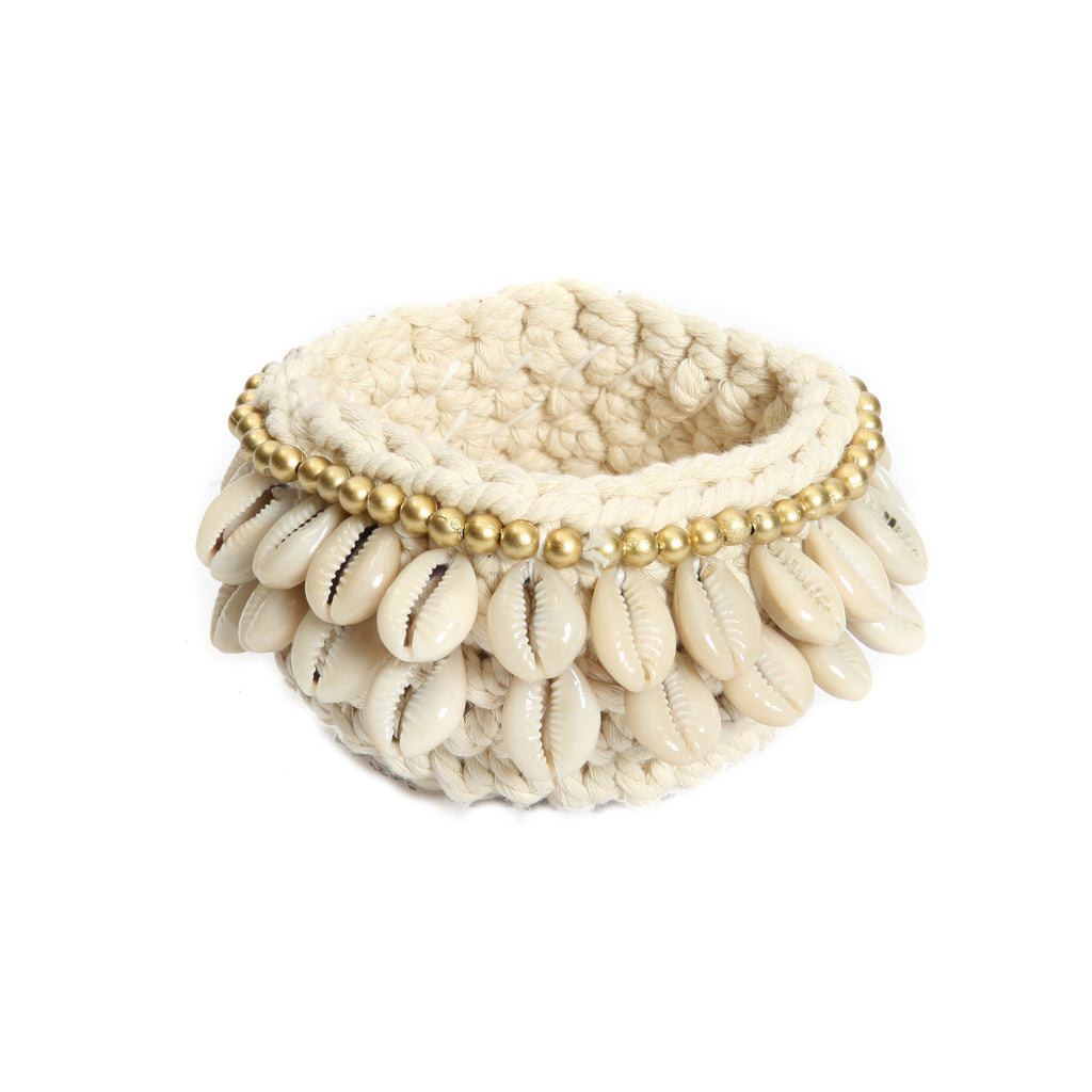 Bazar Bizar Bzar Bizar Gold & Cowrie Macrame Candle Holder - LAZY SUNDAY LAZY SUNDAY