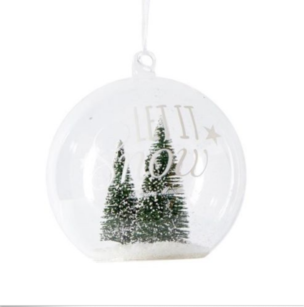Let it snow green forest ornament