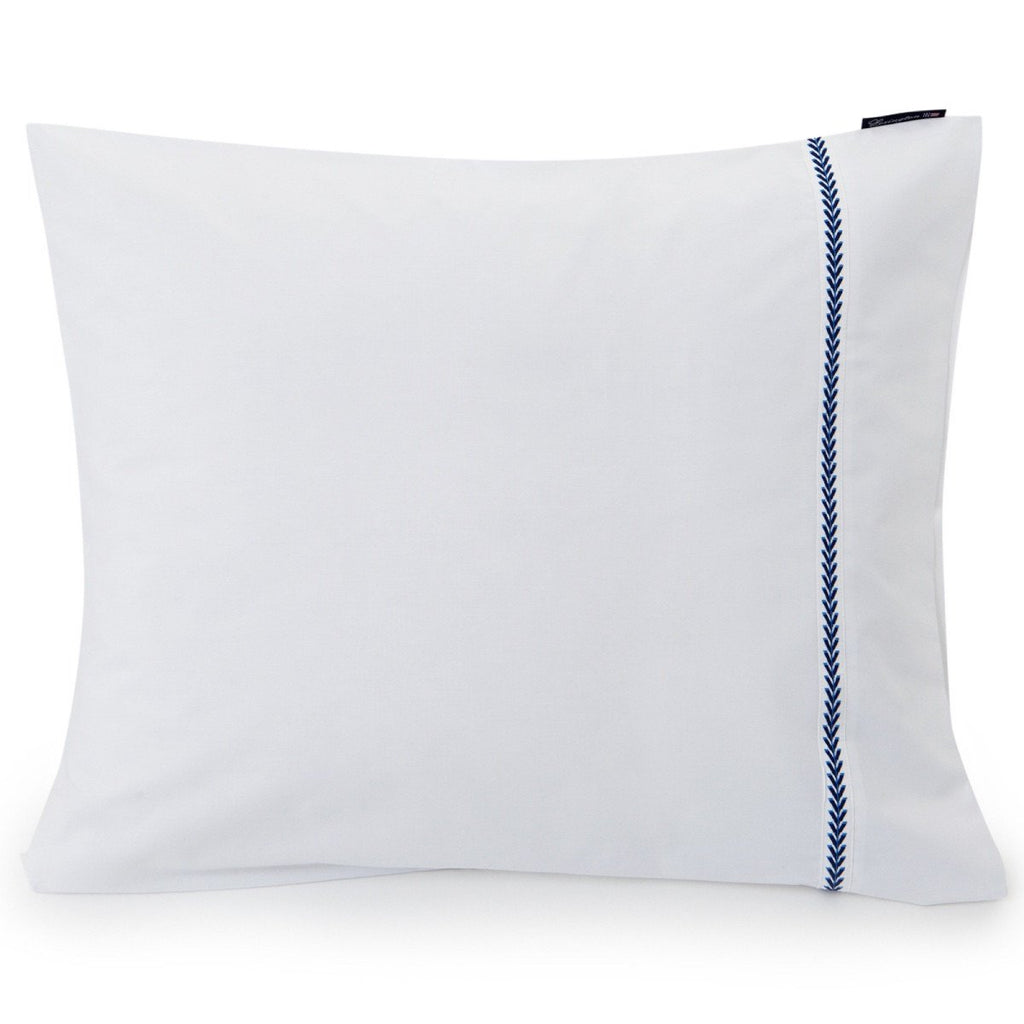 Lexington Company Kopfkissen Embroidery Popelin blau weiss - LAZY SUNDAY LAZY SUNDAY