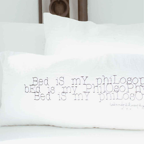 "Dekokissen Leinen ""Bed is my philosophy"""