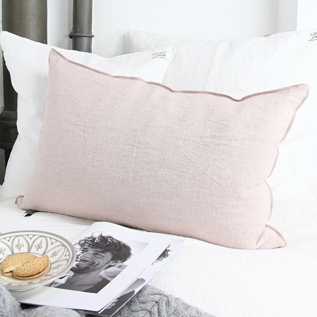 Maison de vacances Dekokissen Crumpled washed linen rose-givré 40x60cm - LAZY SUNDAY LAZY SUNDAY