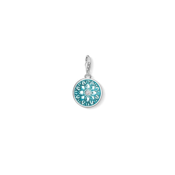 Thomas Sabo Silver Turquoise CZ Flower Ornament Charm 1447