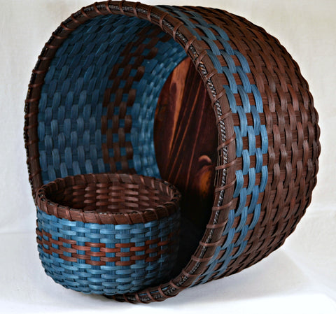 Afghan and Table Baskets in Dark Brown and Turquoise by Bright Expectations Baskets
