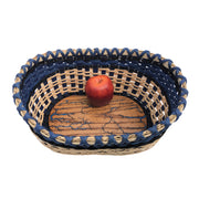 """River"" - Basket Weaving Pattern - Oval Table Basket / Wood Base"