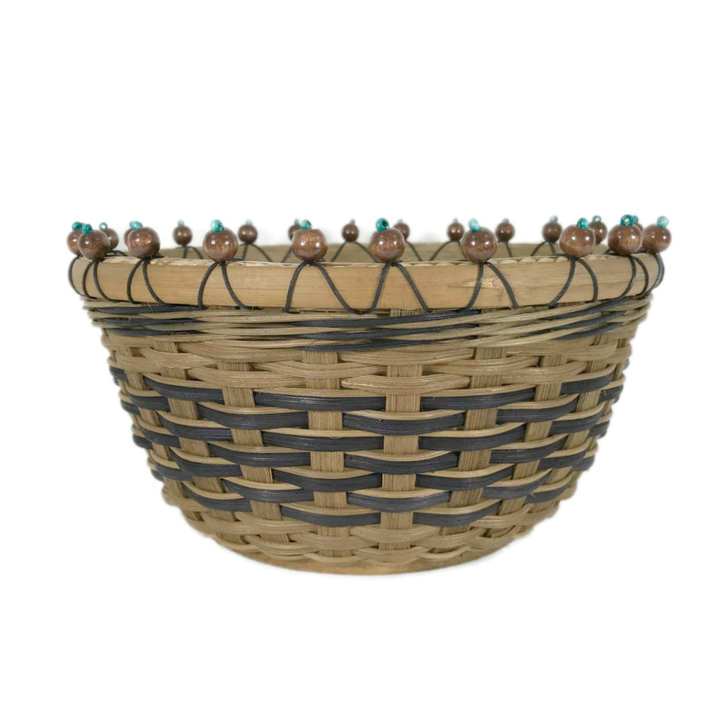 """Cyan"" - Basket Weaving Pattern - Beaded Rim Table Basket - Bright Expectations Baskets - Instant Digital Download Pattern"