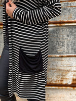 Stripe Patch Pocket Cardigan