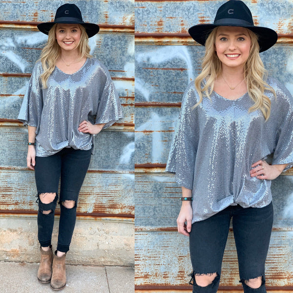 Lambert Gunmetal Sequin Top