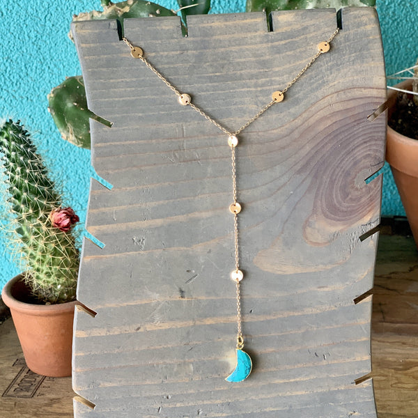 Shira Melody Turquoise Moon Necklace