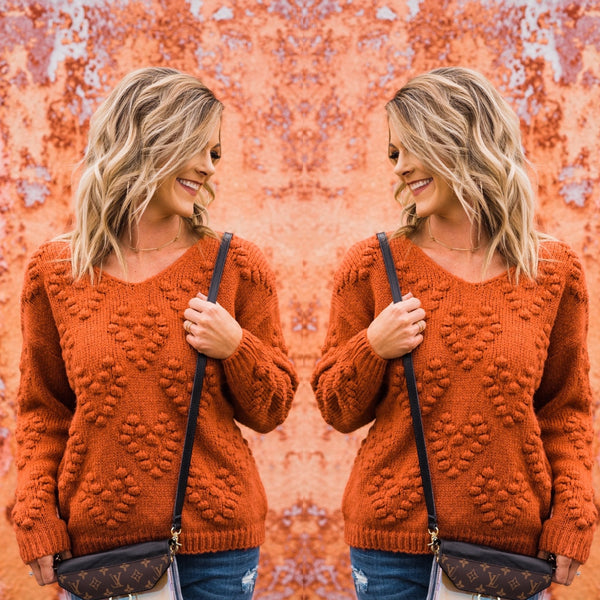 Rusty Pom Pom Heart Sweater