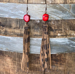 Red Coral Cheetah Tassel Earring