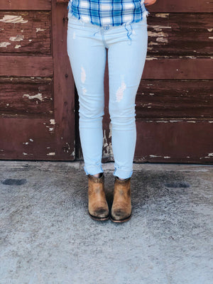 Hallie Crystal Blue Skinnies