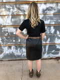 Musgraves Leather Pencil Skirt