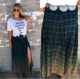 Green Plaid Slit Skirt