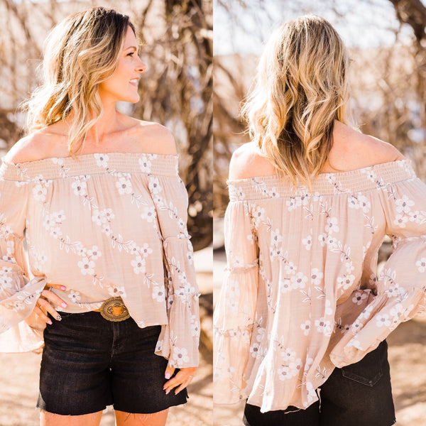 Floral Latte Off The Shoulder Top