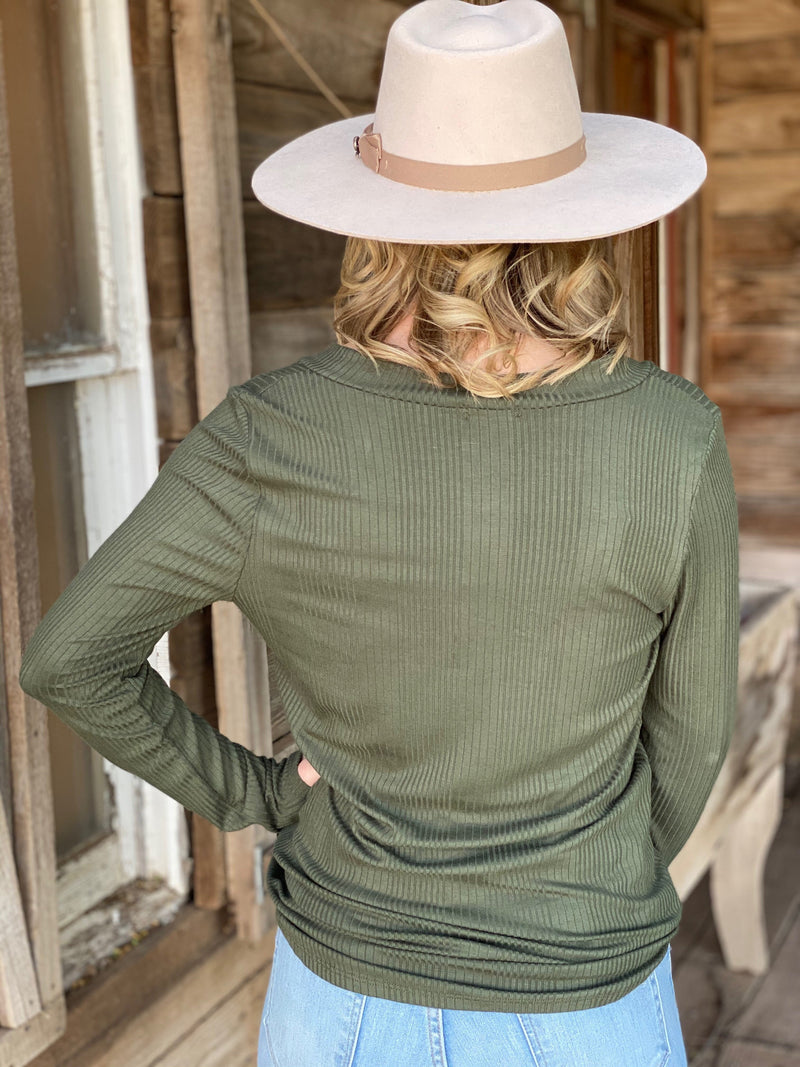 Lovely Button Top -Olive