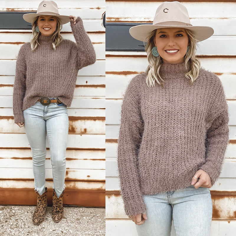 Cocoa Mauve Mohair Turtleneck Sweater