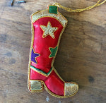 Western Boot Christmas Ornament