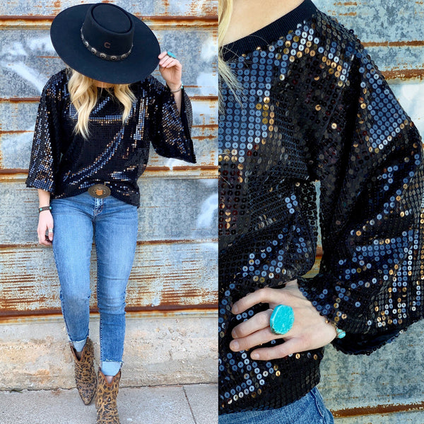 Whitney Sequin Black Top