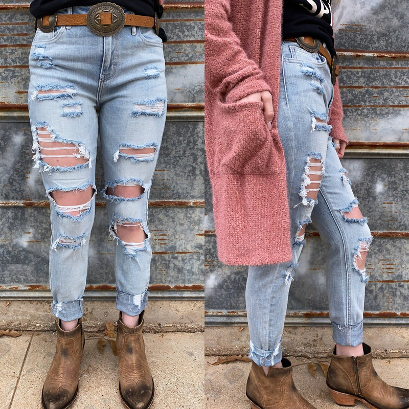 Missy High Rise Distressed Skinny