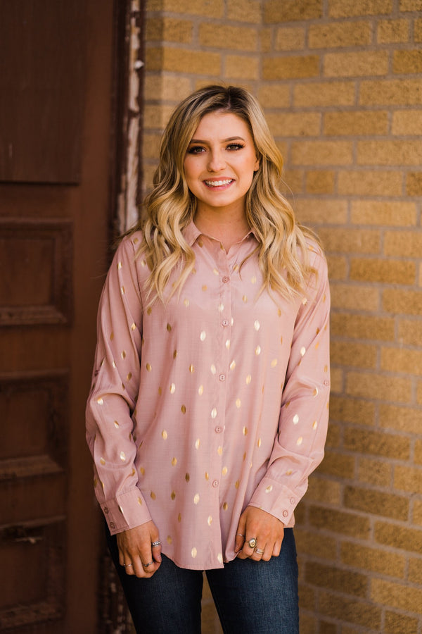 Golden Blush Polka Dot Top