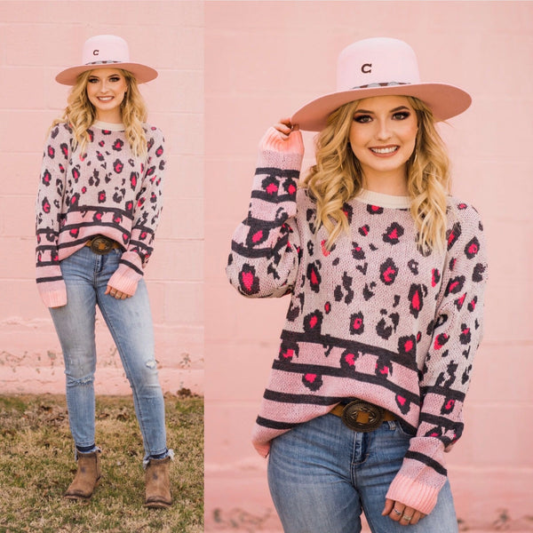 Suzie Blush Leopard Sweater