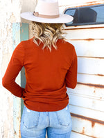Lovely Button Top -Rust