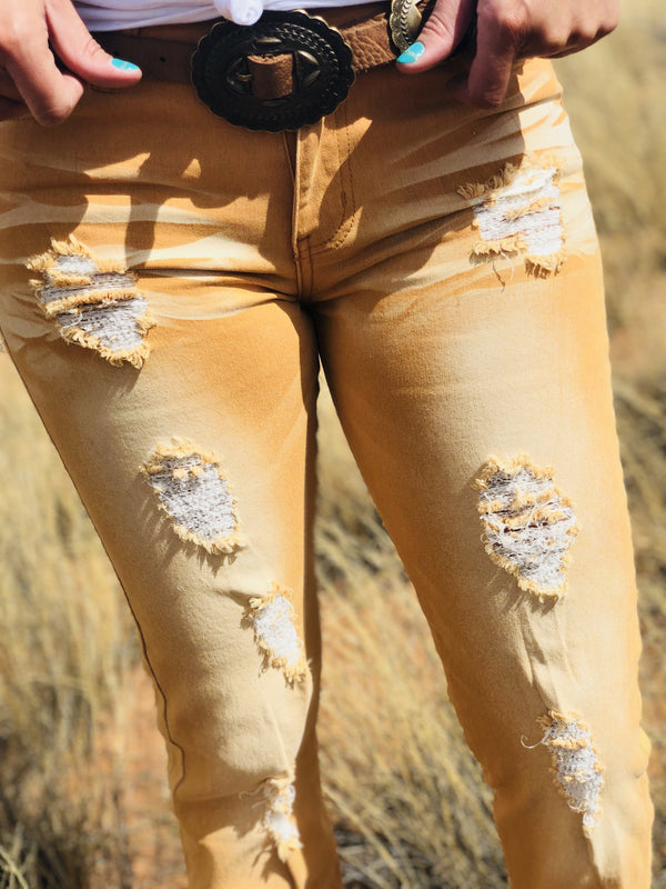 Sunset Distressed Skinnies