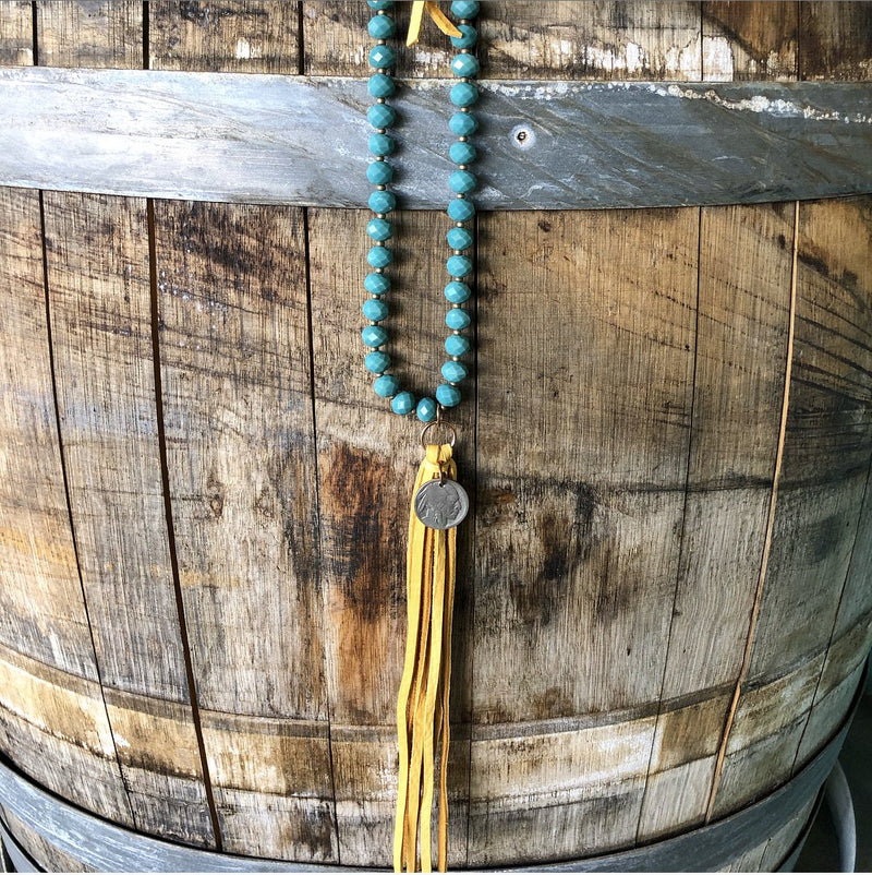 J. Forks Seafoam Crystal Mustard Necklace