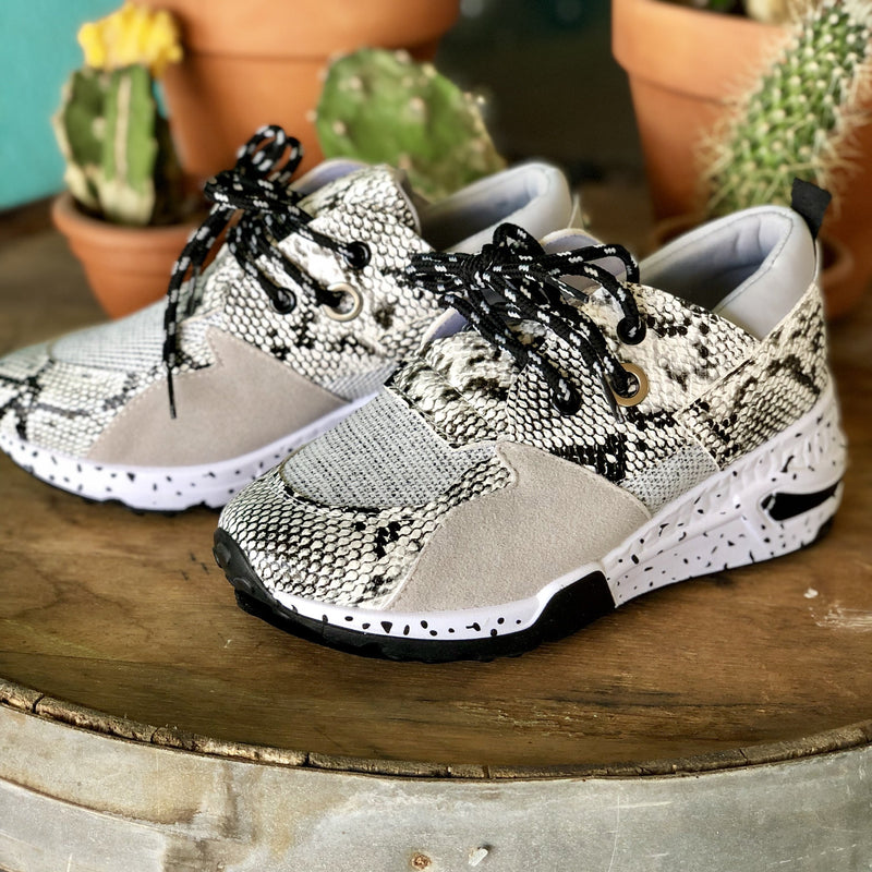 Mixed Up Sneakers -White Snake