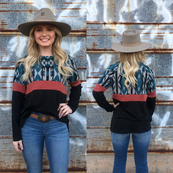 Faith Teal Top