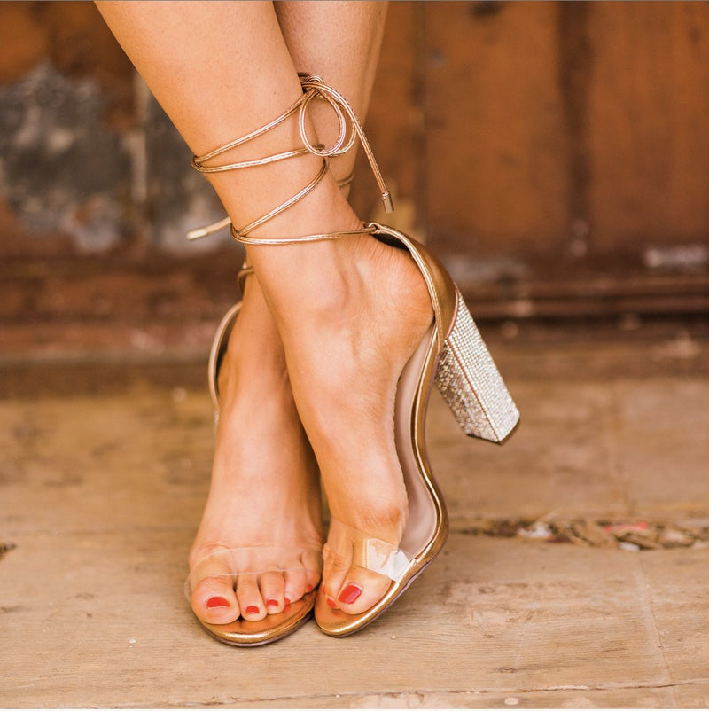 Crystal Rose Gold Heels