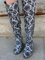 Jessica Knee High Snake Skin Boots
