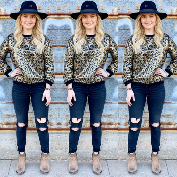 Leopard Sequin Sweater