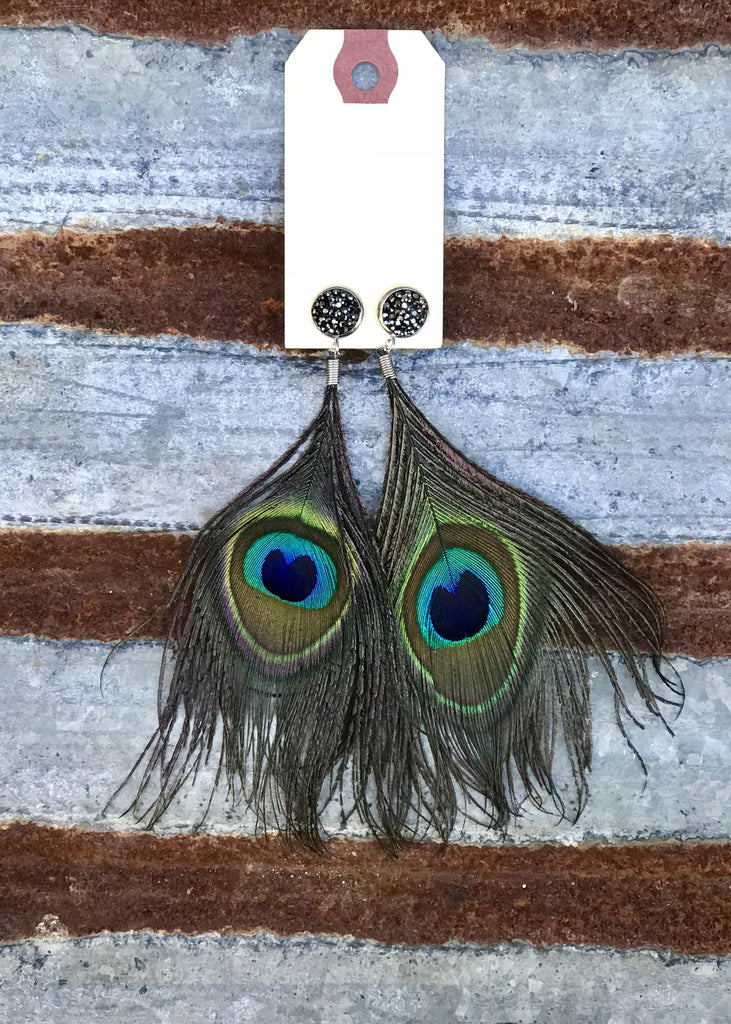 Drusy Peacock Earrings