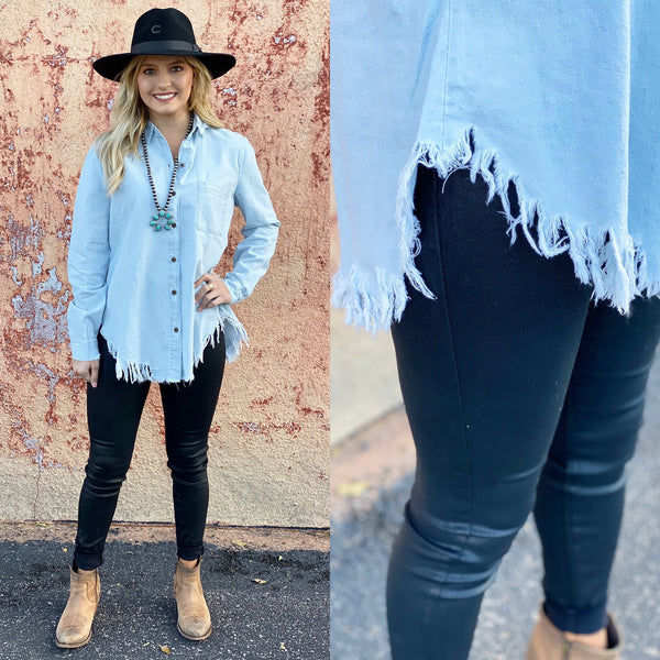 Distressed Vintage Denim Top