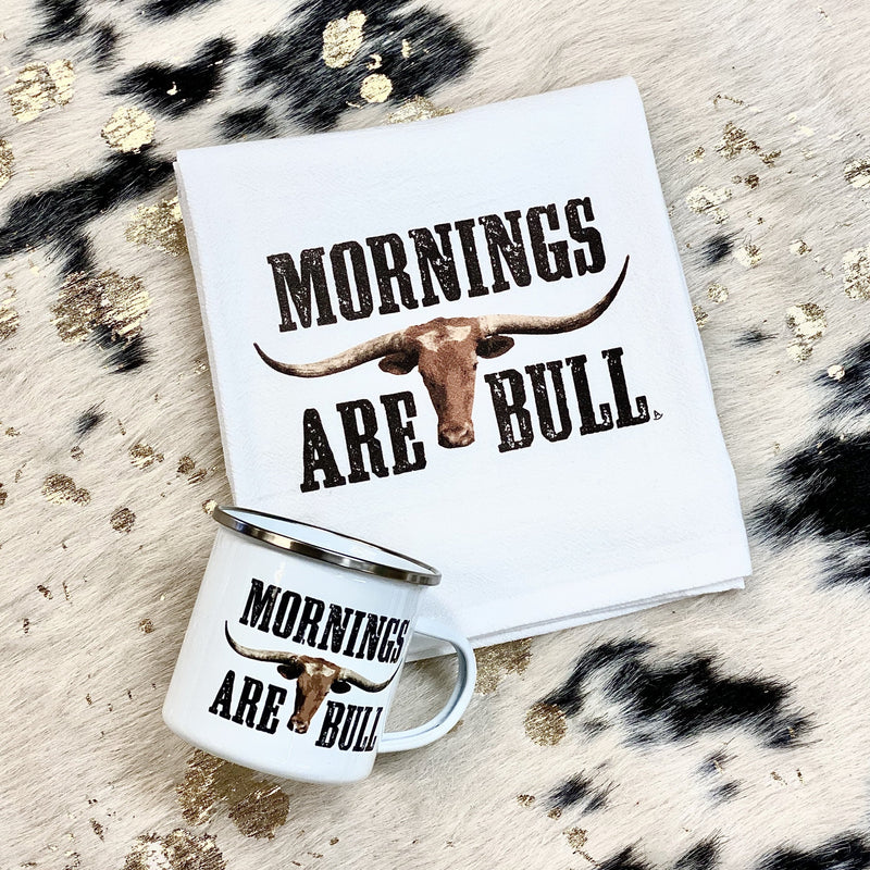 Mornings Are Bull Kitchen Towel