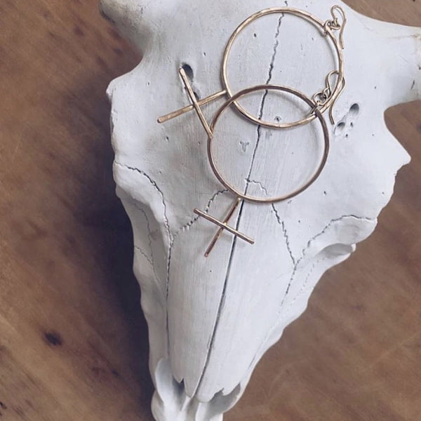 Gold Fem Cross Hoops