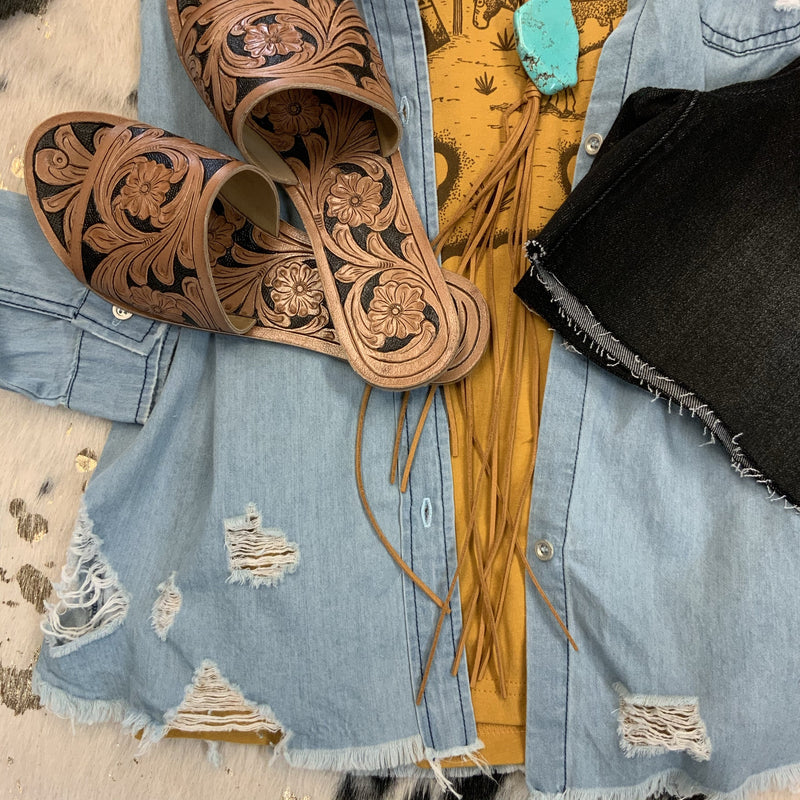 Sandy Denim Top