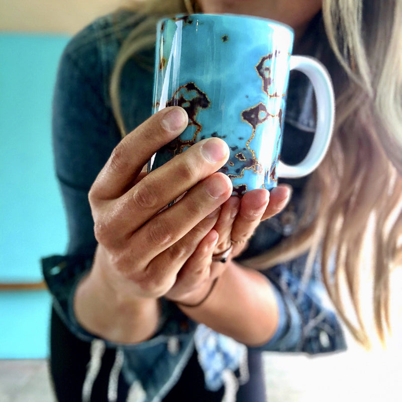 Turquoise Marble Coffee Cup